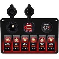 DCFlat 5 Pin 6 Gang coche marino barco circuito RV LED interruptor basculante panel voltímetro con fusible doble USB para coche (6 Gang aluminio panel Rojo)