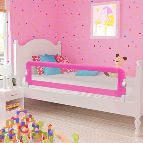 Wakects Bettschutzgitter Safety 1st, Bettgitter Rausfallschutz beim Schlafen Klappbar passend für Kinder-Eltern-Bette 150 x 42 cm (L x H) ROSA