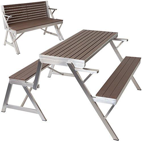 Albatros Gartenbank NIZZA multifunktionale zur Sitzgarnitur/Gartengarnitur klappbare Bank aus Edelstahl mit WPC-Holz