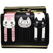 Nawoshow donne simpatico gatto portafoglio mini tre ante pochette borsa della moneta di bacio portafoglio di blocco