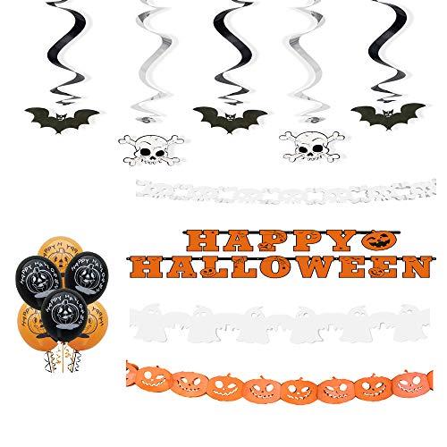Ocballoons kit festa halloween addobbi e decorazioni party palloncini festoni ragnatela ragni ghirlande di carta set decorazione accessori per feste 35pz