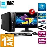 HP PC Compaq Pro 6300 SFF I7-3770 16Go 120Go SSD Graveur DVD WiFi W7 Ecran 17'