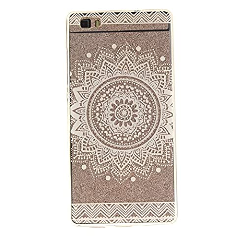 """Huawei P8 Lite Hülle, SsHhUu Kratzfeste Clear Durchsichtig Ultra Slim TPU Schutzhülle Bumper Tasche Cover Case für Huawei P8 Lite / ALE-L21 (5.0"""") - Weißes Charmantes Mandala Blumenmuster"""