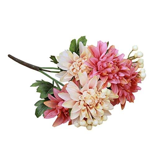 Igemy Strauß Dahlie Fälschung Seide Blume Fälschung Blume Hochzeit Zuhause Dekor Strauß (Pink)