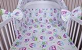 Amilian® Baby Bettwäsche 135/100 + 40/60 - 2tlg Kinderbettwäsche Bettset Eule weiß