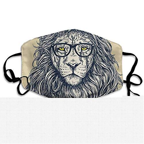 Unisex Hipster Lion Brille Anti-Pollution Grippe Masken Mund Gesichtsmaske Keime Bakterien Virus Smog Nase Gummiband