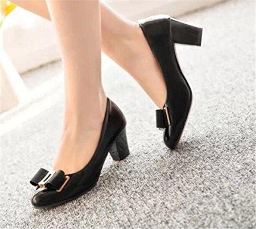 LDMB Flache Mund - Farben - lederne runde Zehe - Schuhe Bogen - starke mit Absatz - einzelne Schuhe Black