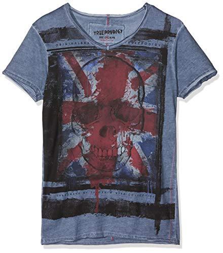 trueprodigy Casual Herren Marken T-Shirt Aufdruck Oberteil Cool Stylisch V-Ausschnitt Kurzarm Slim Fit Shirt Männer Bedruckt, Größe:L, Farben:Ombreblue