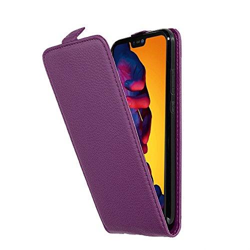 Cadorabo Hülle für Huawei P20 LITE - Hülle in Bordeaux LILA – Handyhülle aus Strukturiertem Kunstleder im Flip Design - Case Cover Schutzhülle Etui Tasche