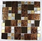11 Matte 1m² Glasmosaik Mosaikfliesen Glas Edelstahl Gold Braun Getönten Schwarz neu