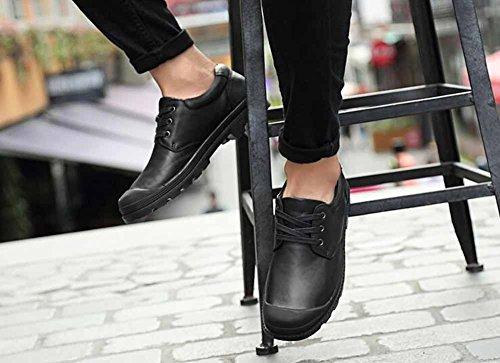 Uomini Casuale Appartamenti Scarpe Primavera Allacciare Pelle Scarpe Confortevole Tacco Basso A Passeggio Scarpe Grande Dimensione Black