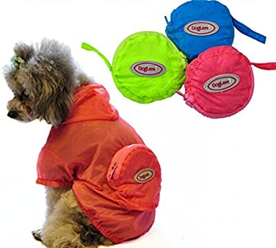 BAO CORE Lightweight Waterproof Pet Dogs Raincoat Summer UV Protection Dog Jacket Costume with Hat Foldable Packable Clothes for Dogs Small/Medium/Large