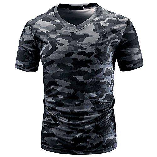 DEELIN Sommer Sport Männer Casual Camouflage Print V-Ausschnitt Pullover Kurz T-Shirt Top Bluse T-stücke ()