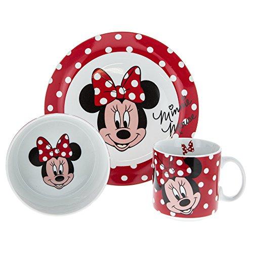 Car bomboniere set pappa minnie in porcellana composto da tazza/ciotola/piatto piano, rosso