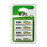 EBL AA Rechargeables Piles 2800mAh Ni-Mh Batteries Nouvel Emballage, Lot de 4 Unités