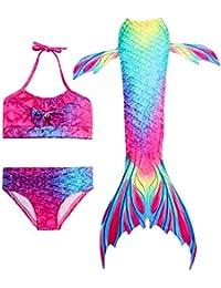 c39395cfabb9 HiFunBay Ragazze Coda da Sirena per Nuotare Bambina Costume da Bagno  Incluso 3PCS Bikini