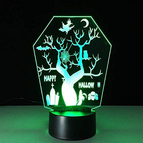 WJPDELP-YEDE 3D LED Halloween Baum Formen Nachtlicht Neuheit USB 7 Farben Ändern Tischlampe Schlafzimmer Schlaf Beleuchtung Dekor Urlaub Geschenke