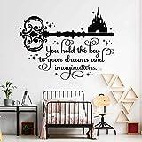 wukongsun Castle Quotes Aufkleber Der Schlüssel zu Ihren Träumen und Ihrer Fantasie Inspirierender Kinderzimmeraufkleber Schwarz S 55cm x 42cm