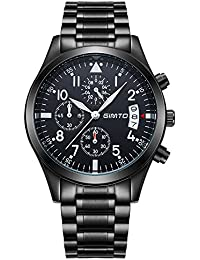 gimto gm206Hombres del Deporte Militray analógico Dial reloj de 50m resistente al agua reloj de pulsera con luz de fondo, cronómetro, cronógrafo, calendario, color negro