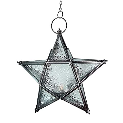 HANGING INDIAN / MOROCCAN IRON & GLASS LANTERN (TEA LIGHT HOLDER) HOME & GARDEN VARIOUS STYLES AND SIZES (Small star hanging lantern (20x20x 6cm))
