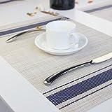 Eageroo 6er Set 30 x 45 cm Platzdeckchen Abwaschbar Tischmatte PVC Abgrifffeste Platzsets Anti-Rutsch Tischset für Den Esstisch, Blau - 4
