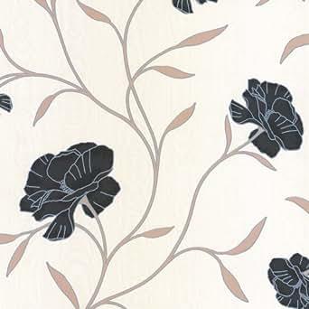 Erismann Isabelle Papier peint Floral Noir/Beige/crème