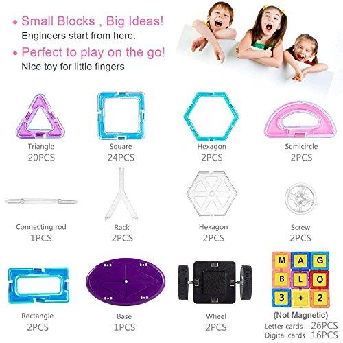 CosyVie Juego de juguete magnético Bloques de construcción Kit magnético y colorido de 102 piezas Juguete educativo y creativo Mejor regalo para niño a partir de 3 años