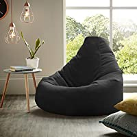 XX-L Black Highback Beanbag Chair Water resistant Bean bags for indoor and Outdoor Use, Great for Gaming chair and Garden Chair