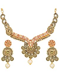 The Luxor Antique Gold Plated Pearls Meenakari Bridal Jewellery Sets Choker Necklace Set For Women (NK-2104)