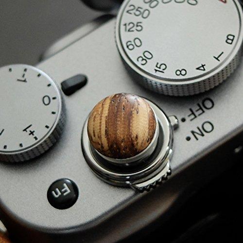 Morbido pulsante di scatto alluminio/ legno- Zebrano (convesso, 10mm) per Leica, Fuji x100, x100s, x100t, x10, x20, x30, X-Pro1, X-Pro2, X-E1, X-E2 & X-E2s e tutte le macchine fotografiche con una filettatura conica