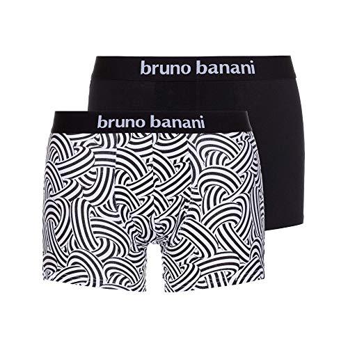 bruno banani Herren Short 2er Pack Maniac Boxershorts, (Weiß Print//Schwarz 2539), Large (Herstellergröße: L)