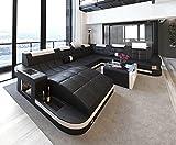Schlichter Möbel Wohnmöbel Sofagarnitur Polstergarnitur Designsofa Sofa BORAS XL schwarz-weiß