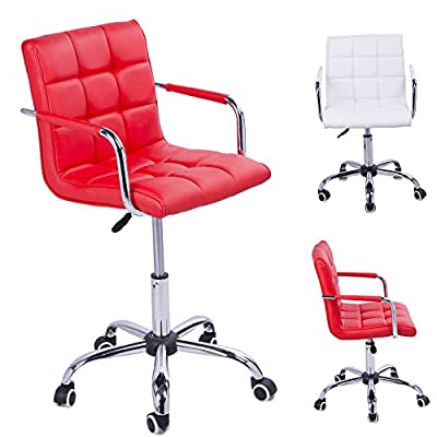Homcom PU Leather Height Adjustable Office Computer Chair 360 Degree Swivel Chair with Chrome Base and Castor Wheels Bar Kitchen Stool with Arms - low-cost UK light store.
