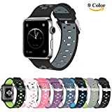 Chok Idea Armband Ersatz für Apple Watch Strap,Atmungsaktiv Nike+ Style Soft Silikon Sport Ersatzband für Apple Watch Strap 38mm Serie 3,Serie 2,Serie 1,Black-Grey