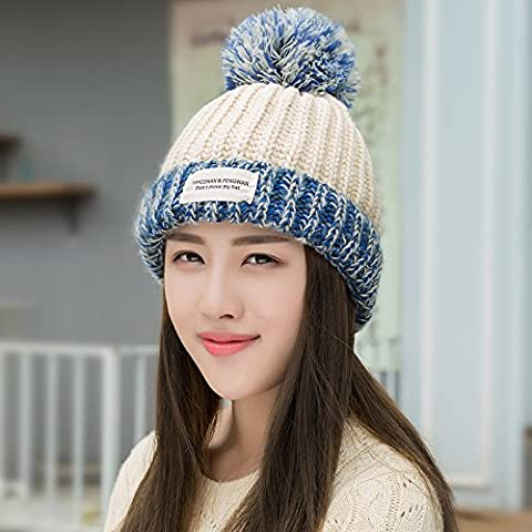 FQG*The Korean Tide of Autumn and Winter Sweater Knit Hat the stylish lint-free warm winter (Patterns Knit Bambini Cappelli)