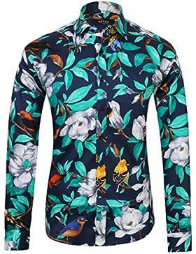 APTRO Herren Fashion Baumwolle Mehrfarbig Luxuriös Blumen Langarm Shirt Größe S-XXXL…