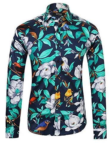 APTRO Herren Freizeit Baumwolle Blumen Mehrfarbig Luxuriös Langarm Shirt 1006