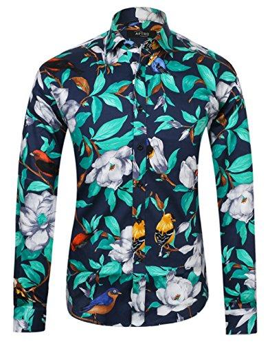 APTRO Herren Freizeit Baumwolle Blumen Mehrfarbig Luxuriös Langarm Shirt 1006 Blau (Jahre 80er Für Mode Jungs)