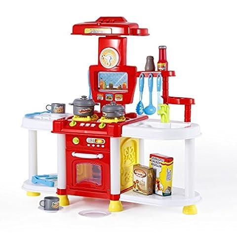 Jouet d'Imitation YKS Cuisine de Jouets en Plastique Mini Jouets Magasin de Cuisine Ensemble de Cuisine Tikes Cuisine Le Parfait Cadeau pour Enfant (Rouge)