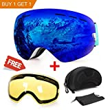 WLZP Gafas de esquí antiniebla con protección UV para Snowboard, esquí, Skating y Otros Deportes...