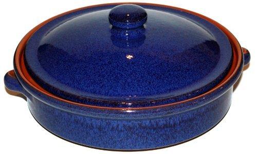 Amazing Cookware Plat Rond en Terre Cuite avec Couvercle Bleu 25cm