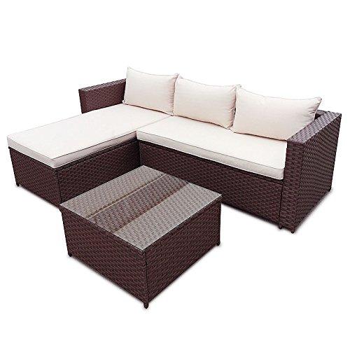 POLY RATTAN Set Gartenmöbel Rattan-Lounge Gartenset Sofa Garnitur Couch-Eck (XL, Braun)