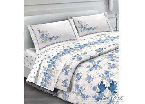 BIANCHERIAWEB Completo Lenzuola in Morbida Flanella Disegno Cloe Colore Azzurro Maxi Azzurro