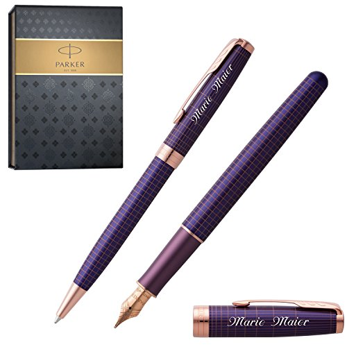 PARKER Schreibset SONNET CHISELLED SILVER PURPLE P.G.C. mit Gravur Füller und Kugelschreiber mit...