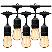 Outdoor waterproof light string LED String Lights Indoor Outdoor Electric String Lights 15 pcs Edison Vintage Bulbs for Patio Garden Wedding Party UL Listed Waterproof Commercial Feet Hanging Light