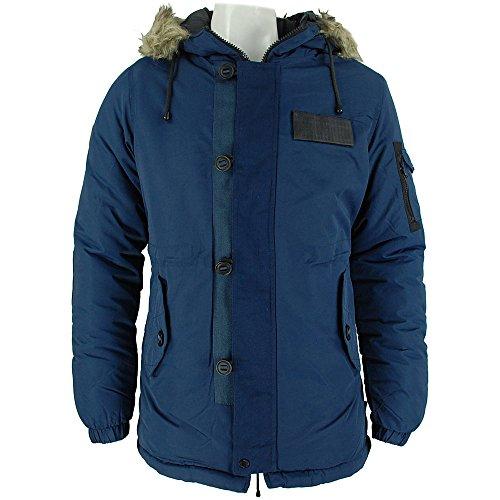 Nuovo da uomo Bellfield Navy Totto Design con cappuccio cappotti Navy Medium