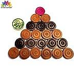 Carrom Coin Set of 24 Coins Sheesham Wood Champion Carrom Coins + Striker