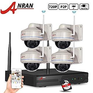 ANRAN 720P Wifi NVR Outdoor IP Sicherheit Kamera System mit 4von 720p Wireless Vandal Proof Dome IP Netzwerk Kamera IR-Day Night Vision Easy Remote-Zugriff mit 1TB Festplatte