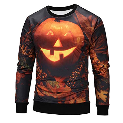 Y56 Männer Casual Scary Halloween Kürbis 3D Print Party Langarm Hoodie Top Bluse (Small)