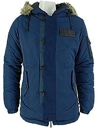 New Bellfield Mens Navy Totto Designer Hooded Jacket Coats